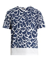 Marni Boomerang Print Cotton Jersey T Shirt Blue Multi