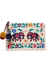 Figue Embellished Embroidered Canvas Pouch Ivory