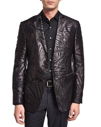 Etro Palm Print Jacquard Silk Evening Jacket Black
