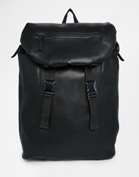River Island Faux Leather Buckle Front Backpack Black