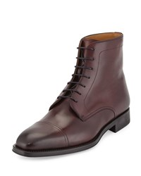 Magnanni Leather Cap Toe Ankle Boot Burgundy