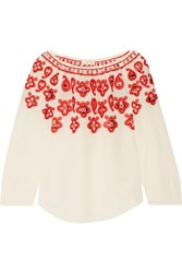Tory Burch Leyla Sequin Embellished Embroidered Silk Top Ecru