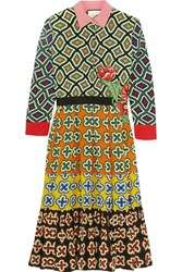 Gucci Appliqued Printed Silk Dress Green