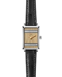 Gomelsky By Shinola Shirley 32Mm Alligator Strap Watch With Diamond Stripes Black