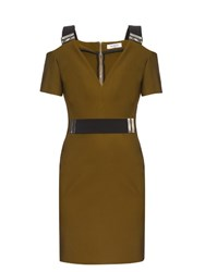 Thierry Mugler V Neck Bi Colour Dress Khaki