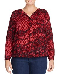 Lucky Brand Plus Tassel Tie Peasant Blouse Red Multi