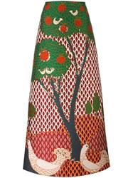 Red Valentino Embroidered Tree Maxi Skirt