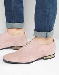 Asos Brogue Shoes In Pink Suede With Contrast Sole Pink