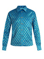 Miu Miu Point Collar Leaf Jacquard Shirt Blue