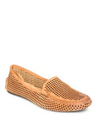 Patricia Green Barrie Perforated Suede Loafers Camel