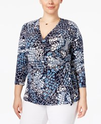 Charter Club Plus Size Printed Faux Wrap Top Only At Macy's Intrepid Blue Combo