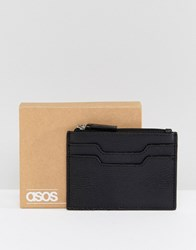 Asos Leather Card Holder With Zip Fastening Black