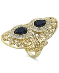 Inc International Concepts Gold Tone Jet Stone And Crystal Filigree Drama Ring Only At Macy's