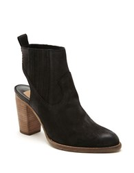 Dolce Vita Leather Booties With Wooden Heels Black