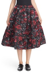 Comme Des Garcons Women's Quilted Floral Print And Leaf Jacquard A Line Skirt