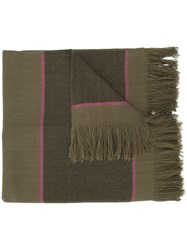 Denis Colomb Striped Scarf Women Cashmere One Size Brown