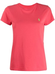 Polo Ralph Lauren Logo Embroidered T Shirt Pink