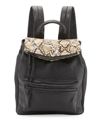 French Connection Emma Snake Embossed Flap Top Backpack Black Nude