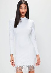 Missguided White Long Sleeve High Neck Tassel Hem Dress