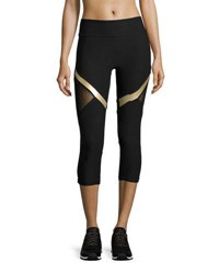 X By Gottex Mesh And Metallic Panel Performance Capri Leggings Black