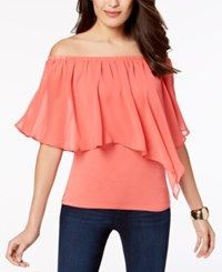 Thalia Sodi Convertible Off The Shoulder Top Created For Macy's Deep Sea Coral