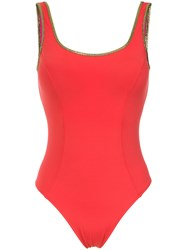 Amir Slama Gold Tone Trimming Swimsuit Red