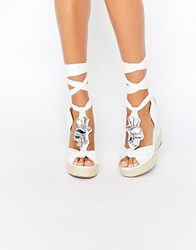 Asos Tropical Embellished Wedges White