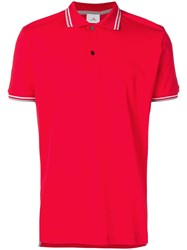 Peuterey Contrast Striped Trim Polo Shirt Red
