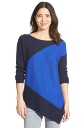 Petite Women's Halogen Asymmetrical Wool And Cashmere Sweater Navy Blue Colorblock