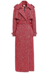 Stella Jean Woman Double Breasted Tweed Trench Coat Claret