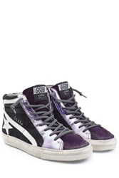 Golden Goose Slide High Top Sneakers With Leather And Suede Purple