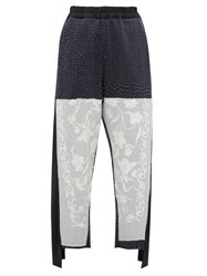 By Walid Sally Embroidered Wool And Cotton Blend Trousers Black White