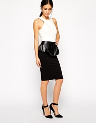 Vesper Pencil Dress With Leather Look Peplum Blackwhite