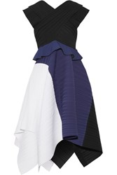 Proenza Schouler Color Block Plisse Crepe Dress Black