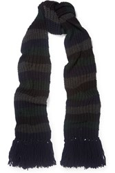 Mih Jeans M.I.H Beat Striped Ribbed Knit Scarf Charcoal