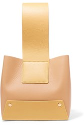 Yuzefi Tab Small Two Tone Textured Leather Tote Yellow