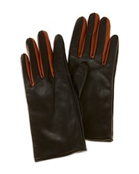 Karen Millen Contrast Leather Gloves Black