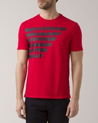 Armani Jeans Red Crew Neck T Shirt With Lettering