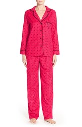 Women's Betsey Johnson Print Flannel Pajamas Hearts And Spades Red Hot