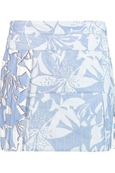 Just Cavalli Chiffon Paneled Printed Cotton Blend Mini Skirt Blue