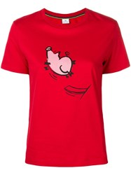 Paul Smith Ps By 'Jumping Pig' Print T Shirt Red