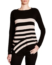 C By Bloomingdale's Striped Asymmetric Cashmere Sweater Black Camel