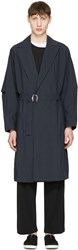 Undecorated Man Navy Detective Trench Coat