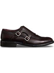 Burberry Brogue Detail Textured Leather Monk Shoes