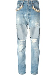 Forte Couture Embellished Ripped Jeans Blue