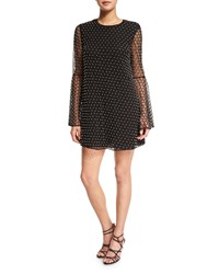 Camilla And Marc Long Sleeve Beaded Net Tulle Dress Women's Black