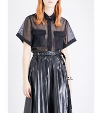 Toga Buckle Tulle Shirt Navy