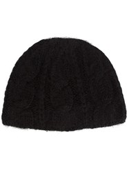 Ryan Roche Cable Knit Hat Black