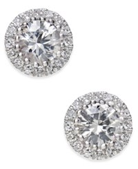 Macy's White Sapphire 5 8 Ct. T.W. And Diamond 1 10 Ct. T.W. Stud Earrings In 14K White Gold