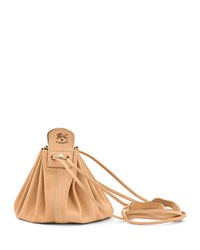 Il Bisonte Drawstring Leather Crossbody Pouch Bag Beige
